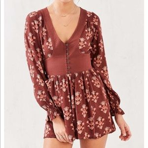 Urban Outfitter Pia Lng sleeve Button waist Romper